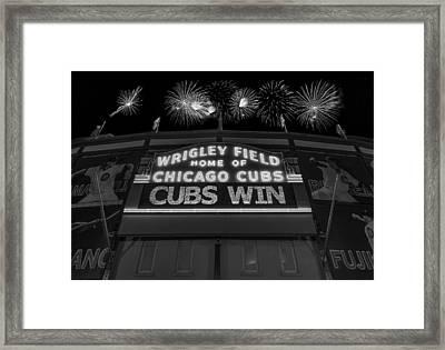 Chicago Cubs Win Fireworks Night B W Framed Print by Steve Gadomski