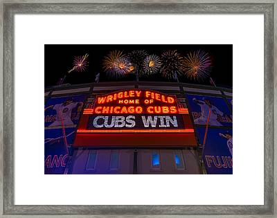 Chicago Cubs Win Fireworks Night Framed Print by Steve Gadomski