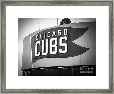 Chicago Cubs Wrigley Field Sign Black And White Picture Framed Print by Paul Velgos