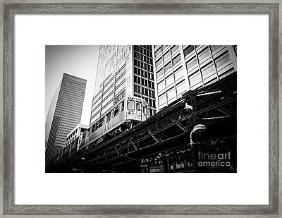 Chicago Elevated L Train In Black And White Framed Print by Paul Velgos