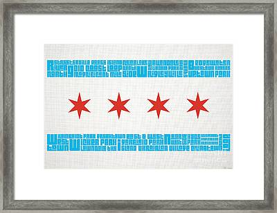 Chicago Flag Neighborhoods Framed Print by Mike Maher