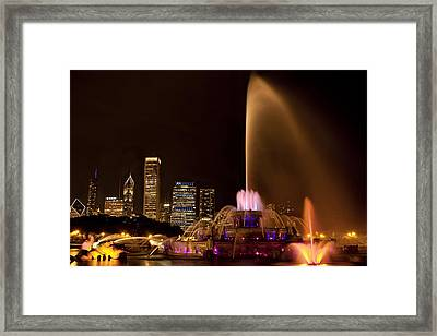Chicago Fountain At Night Framed Print by Andrew Soundarajan