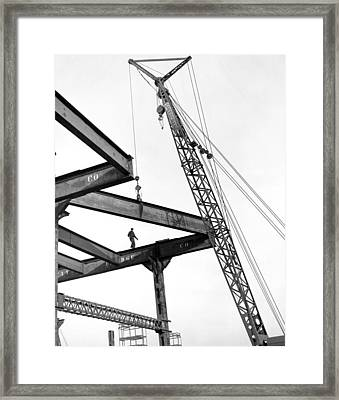 Chicago High Rise Construction Framed Print by Underwood Archives