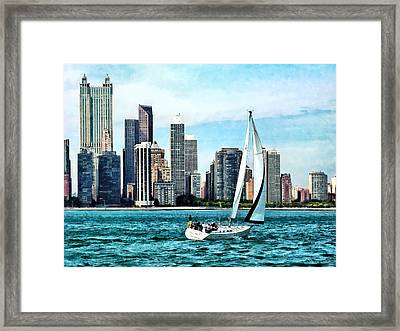 Chicago Il - Sailboat Against Chicago Skyline Framed Print by Susan Savad