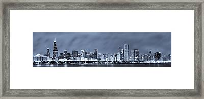 Chicago In Blue Framed Print by Sebastian Musial
