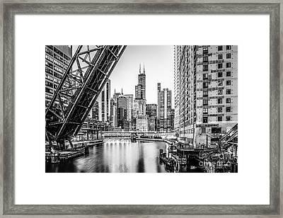 Chicago Kinzie Railroad Bridge Black And White Photo Framed Print by Paul Velgos