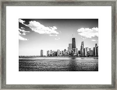 Chicago Lakefront Skyline Black And White Picture Framed Print by Paul Velgos