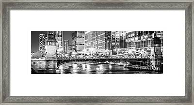 Chicago Lasalle Street Bridge At Night Panorama Photo Framed Print by Paul Velgos