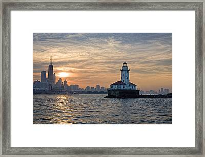 Chicago Lighthouse And Skyline Framed Print by John Hansen