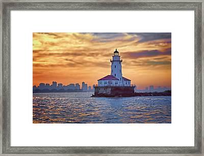 Chicago Lighthouse Impression Framed Print by John Hansen