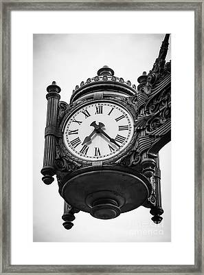 Chicago Macy's Marshall Field's Clock In Black And White Framed Print by Paul Velgos