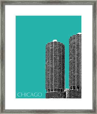 Chicago Skyline Marina Towers - Teal Framed Print by DB Artist