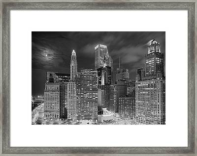 Chicago Moonlight Framed Print by Jeff Lewis