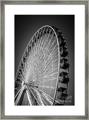 Chicago Navy Pier Ferris Wheel In Black And White Framed Print by Paul Velgos