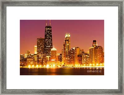 Chicago Night Skyline With John Hancock Building Framed Print by Paul Velgos