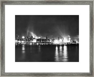 Chicago Nighttime Skyline Framed Print by Underwood Archives