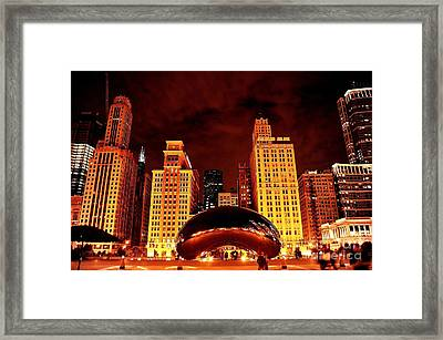 Chicago Photography - The Bean At Night Framed Print by Gene Mark