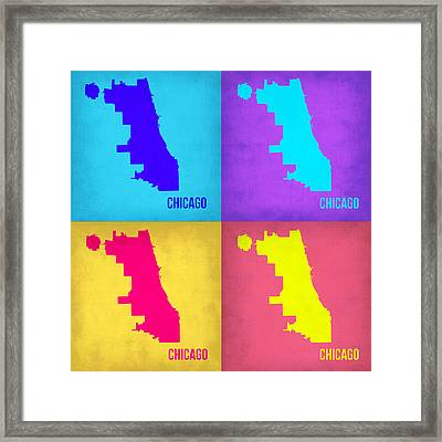 Chicago Pop Art Map 1 Framed Print by Naxart Studio
