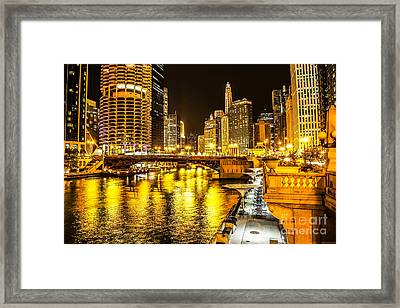 Chicago River Architecture At Night Picture Framed Print by Paul Velgos