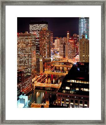 Chicago River At Night Framed Print by Thomas Firak
