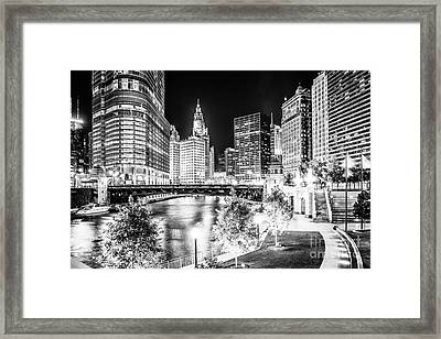 Chicago River Buildings At Night In Black And White Framed Print by Paul Velgos