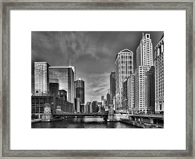 Chicago River In Black And White Framed Print by Sebastian Musial