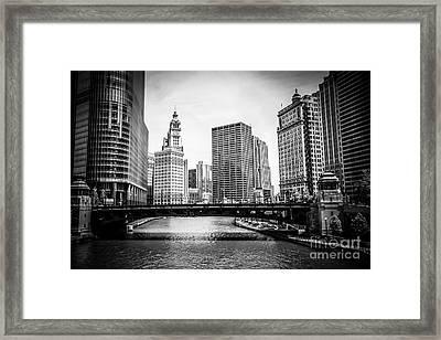 Chicago River Skyline In Black And White Framed Print by Paul Velgos