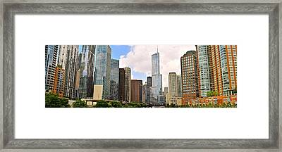 Chicago River View Panorama Framed Print by Frozen in Time Fine Art Photography