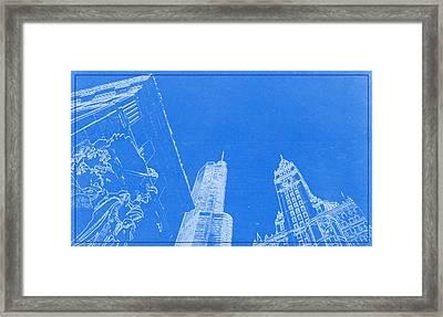 Chicago Riverfront Blueprint Framed Print by Celestial Images