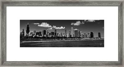 Chicago Skyline 001 Bw Framed Print by Lance Vaughn