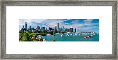 Chicago Skyline Daytime Panoramic Framed Print by Adam Romanowicz