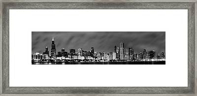 Chicago Skyline At Night In Black And White Framed Print by Sebastian Musial