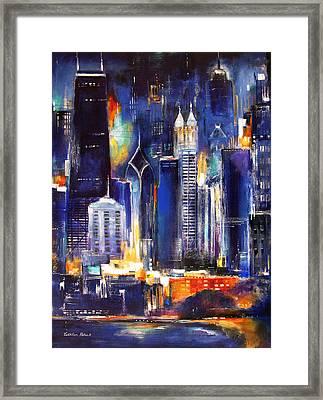 Chicago Skyline At Night Framed Print by Kathleen Patrick