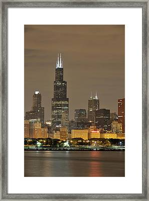 Chicago Skyline At Night Framed Print by Sebastian Musial