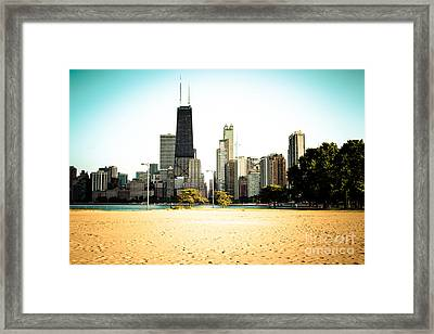 Chicago Skyline At North Avenue Beach Photo Framed Print by Paul Velgos