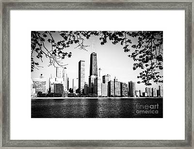 Chicago Skyline Black And White Picture Framed Print by Paul Velgos