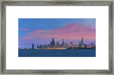 Chicago Skyline Framed Print by Cecilia Brendel