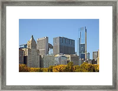 Chicago Skyline From Millenium Park II Framed Print by Christine Till