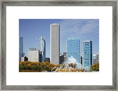 Chicago Skyline From Millenium Park Iv Framed Print by Christine Till