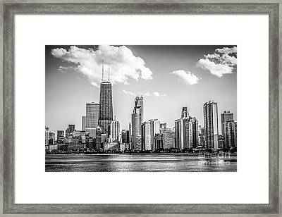 Chicago Skyline Picture In Black And White Framed Print by Paul Velgos