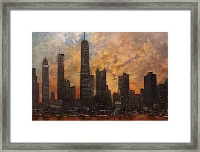 Chicago Skyline Silhouette Framed Print by Tom Shropshire