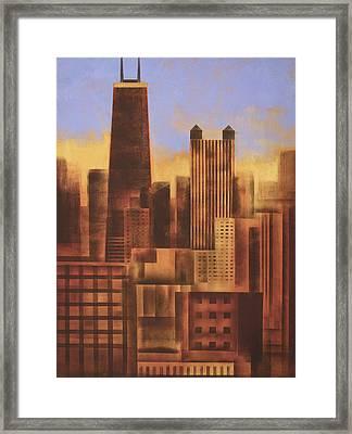 Chicago Skyline Sunset - In Neutral Tones Framed Print by Joseph Catanzaro