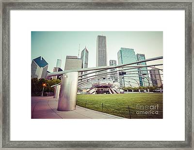 Chicago Skyline With Pritzker Pavilion Vintage Picture Framed Print by Paul Velgos