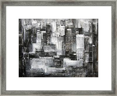Chicago Skyline - Within The City At Night Framed Print by Kathleen Patrick