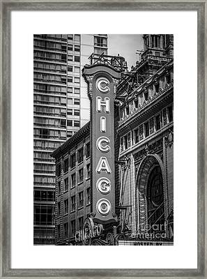 Chicago Theater Sign In Black And White Framed Print by Paul Velgos