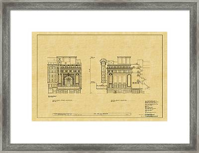 Chicago Theatre Blueprint 2 Framed Print by Andrew Fare