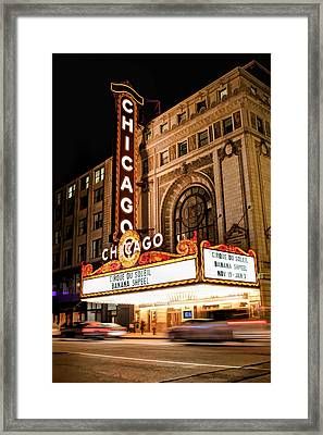 Chicago Theatre Marquee Sign At Night Framed Print by Christopher Arndt