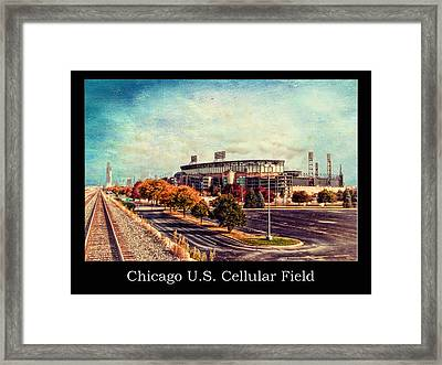 Chicago Us Cellular Field Train View Hdr Textured Framed Print by Thomas Woolworth