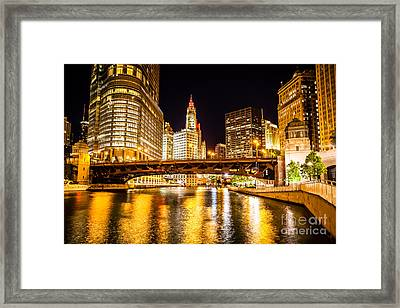 Chicago Wabash Avenue Bridge At Night Picture Framed Print by Paul Velgos