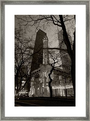 Chicago Water Tower B W Framed Print by Steve Gadomski